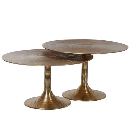 Set of Two Shiny Round Brass Tables